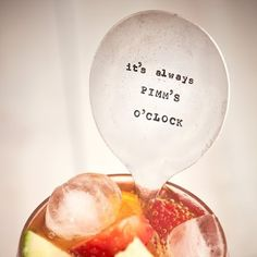 Drinks Stirrer, It's Always Pimm's O'Clock. This drinks stirrer is selected and hand stamped by La de da Living, Cheltenham.  A must have for those stirring cocktails on those long summer evenings.