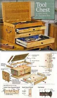 Dovetailed Tool Chest Plans - Workshop Solutions Projects, Tips and Tricks - Woodwork, Woodworking, Woodworking Plans, Woodworking Projects Woodworking Essentials, Woodworking Basics, Beginner Woodworking Projects, Woodworking Jigs, Wood Tool Box, Wooden Tool Boxes, Wood Tools, Diy Wood Projects, Wood Crafts