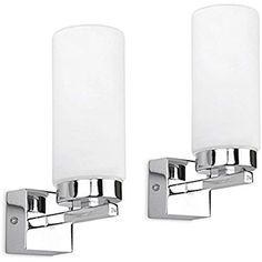 Pair Of - Modern Chrome Bathroom Wall Lights With Frosted Glass Cylinder Shades - IP44 Rated