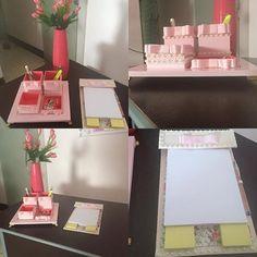Kit para escritório com bloco de anotacoes. Temos vários modelos. Na  Maria Diva você personaliza seus produtos. Boa opção de presente#escritorio#mariadiva#presente#diadasmaes#love