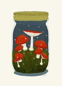 the amazing artwork of aprintaday. Mason Jar Photo, Kinfolk Style, Computer Drawing, Cool Artwork, Amazing Artwork, Lake Art, Mushroom Fungi, Journal Stickers, Whimsical Art