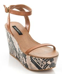 Cognac Emese Wedge Sandals//