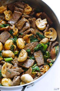 Ginger Beef, Mushroom  Kale Stir-Fry