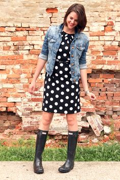 Make a cute party dress more casual by adding a denim jacket and rain boots!