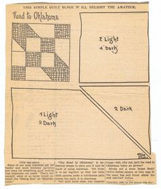 Road to Oklahoma quilt pattern | Kansas City Star paper | Google Search
