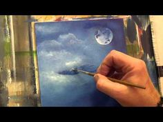 Beginners Acrylic Painting Tutorial - Moon Light Bird Part 1 - YouTube