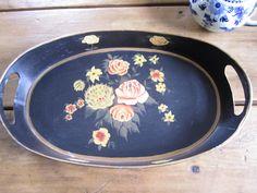 Vintage Tole Tray Black Floral by hyperboleVINTAGE on Etsy