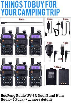 (This is an affiliate pin) BaoFeng Radio UV-5R Dual Band Ham Radio (6 Pack) + 1 TIDRADIO Driver Free Programming Cable + 6 TD-771 Antennas and Radio Mics + 12 1800mAh Batteries Baofeng Walkie Talkie