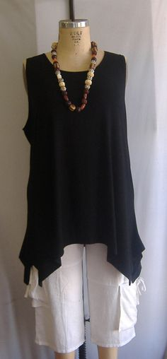 Coco and Juan Lagenlook Plus Size Black Traveler Knit Angled Tank Top Size 1 Fits 1X,2X Bust to 52 inches on Etsy, $32.93 AUD