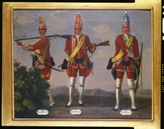 David Morier (1705?-70) Grenadiers, 34th, 35th and 36th Regiments of Foot, 1751 c. 1751-60 Oil on canvas   41.0 x 50.8 cm (support, canvas/panel/str external)   RCIN 405591