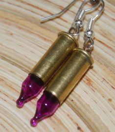 steampunk recycled bullet & christmas tree lights earrings