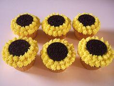 Sunflower cupcakes with Oreo centers...yum!
