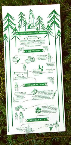 TIME LINE great illustrated guest basket schedule itinerary - this is fun! Switch out the forest for the beach. :)