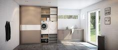 Sigdal kjøkken - skyvedørsgarderobe Alu light Home Appliances, Stacked Washer Dryer, Room, Appliances, Home, Washer, Washer And Dryer, Laundry, Laundry Room