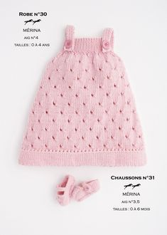 """diy_crafts-FREE PATTERN """"Ravelry: Dress-Booties pattern by Cheval Blanc Official"""", """"Knitted jumper for girl. Baby Knitting Patterns, Knitting For Kids, Baby Patterns, Free Knitting, Knitting Ideas, Crochet Patterns, Girls Knitted Dress, Knit Baby Dress, Knitted Baby Clothes"""