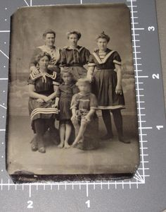 Family Swimmers Beach Backdrop NJ Swimsuit Blurry BOY Antique Tintype PHOTO