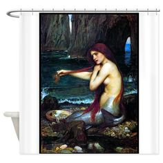A MERMAID, 1901, OIL ON CANVAS.png Shower Curtain on CafePress.com
