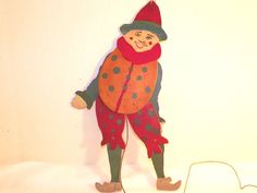 Vintage Folk Art Jester Pull String Puppet Hand Made Wood Cigar Boxes 14 Inch #NaivePrimitive