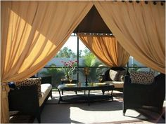 Outdoor Blinds For Patio With Sofa And Brown Calm Curtains