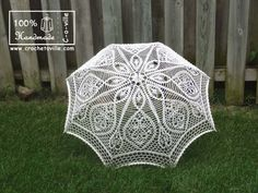 48 IVORY Lace Crochet UMBRELLA Parasol Sunbrella by Crochetoville, $120.00
