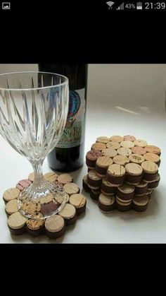 Wine corks into coasters