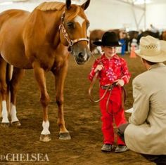 """just too cute :) They always sense children and are so gentle. Once my horse had a 2 year old child run up and put his arms around my horses back hind leg.  My dad simply said, """"Rock"""", the horses name and he never moved!"""