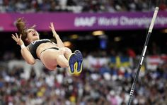 Alysha Newman of Canada reacts during the Women's Pole Vault Final at the World Athletics Championships in London on 6 August 2017.