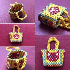 / Tutoriel pour panier / Peyote basket Pattern for beginners / Beaded basket Beaded Clutch, Beaded Purses, Beaded Bags, Beaded Jewelry, Miyuki Beads, Peyote Beading Patterns, Native Beadwork, Beaded Crafts, Beaded Animals