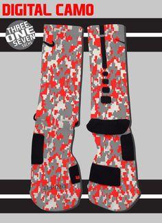Digital Camo Custom Nike Elite Socks - Red, Gray, and White