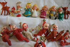 Vintage lot of 18 flocked plastic Christmas Ornaments including Little Miss Muffet so retro and so adorable
