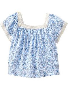 Crochet-Trim Floral Tops for Baby 4T