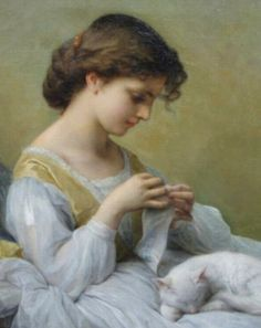 """girl in white dress with cat""  Adolphe Jourdan (1825-1889), francés"