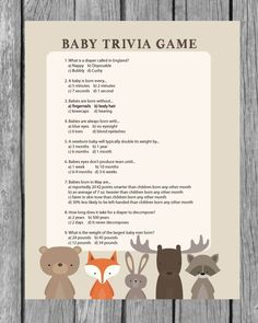 Printable Baby Shower Trivia Game - Woodland Animal Theme - Print It Baby
