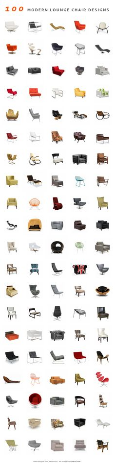 "100 Modern Lounge Chairs. Disclaimer- Many of these are not within my 20th Century oeuvre, however, I said ""...,mostly"""