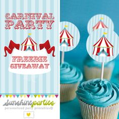 Free Download from SunshineParties on Etsy...Carnival Cupcake Toppers  #FreeDownload #Carnival