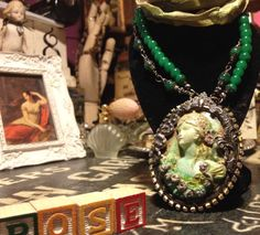 20% discount Madame Rose, cammeo, soldered, resin, gesso, hand-colored ribbon, style Liberty,Rhinestone, Necklace
