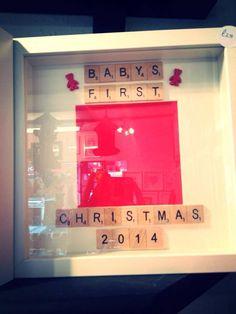 'Babys First Christmas 2015' Scrabble Frame - Peachy Lemon