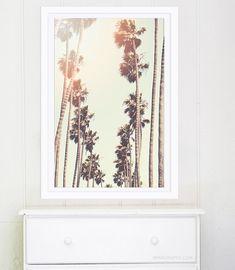 Santa Monica Palm Trees // Large Art Print // Los Angeles Photography Print for Modern Decor // Retro Golden Yellow Oversized Print
