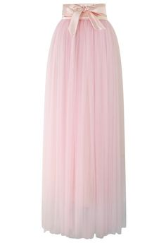 Amore Maxi Tulle Prom Skirt in Pink