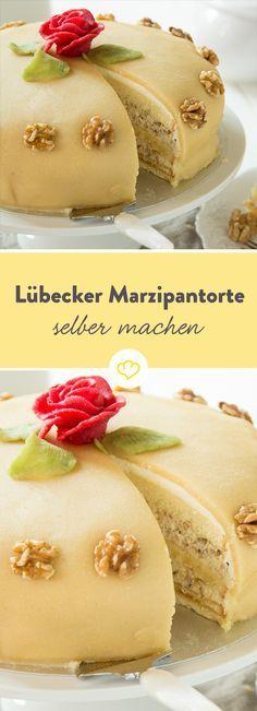 Classic Lübeck marzipan cake: That's how you make it yourself Torten und Kuchen Baking Recipes, Cookie Recipes, Dessert Recipes, Torte Au Chocolat, Marzipan Cake, Beaux Desserts, German Cake, Brownie Desserts, Food Cakes
