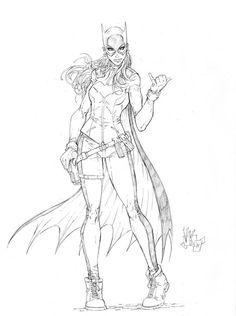 V Ken Marion artwork - Batgirl 9x12 Pencil on Bristol