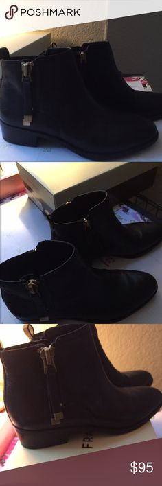 New Franco Sarto Booties Worn inside only to try them out. So no marks.  Comes with the Original Box.  Each Bootie has a zipper on both sides.   Very cute!  Just do not work for what I wanted👠👠 Franco Sarto Shoes Ankle Boots & Booties
