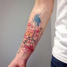Jackson Pollock tattoo by Anton Senkov