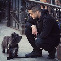 """""""At first we shot with this big, fluffy white dog. I walked in and said to Sam, 'You got the sitcom dog. That's the dog that's in every family home on every sitcom. That is not my dog."""" - @ramimalek #MrRobot"""