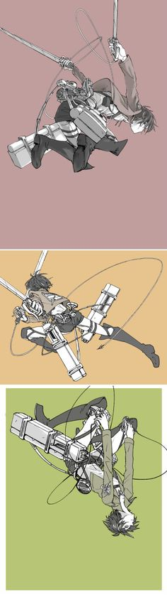 Attack on titan jumping into action (440×1561)