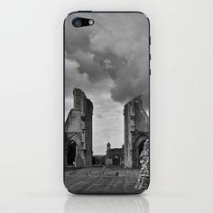 Glastonbury Abbey iPhone & iPod Skin by Regina Hoer - $15.00    ~ Glastonbury Abbey ~    #Glastonbury Abbey #ruin #middleages #bw #Photography #Abbey #clouds #AncientSites #History #BlackandWhite #Glastonbury #mysterious #dark #gothic