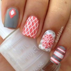 Looking for new nail art ideas for your short nails recently? These are awesome designs you can realistically accomplish–or at least ideas you can modify for your own nails! - Credits to the owner of the image - Grey Nail Art, Gray Nails, Cute Nail Art, Beautiful Nail Art, Striped Nails, Color Nails, Matte Nails, Acrylic Nails, Fancy Nails