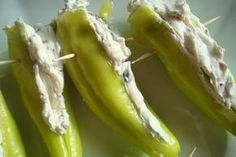 Grilled Stuffed Banana Peppers - I'm going to make these bad boys with the banana peppers I just picked from my parent's garden! Recipes With Banana Peppers, Pickled Banana Peppers, Stuffed Banana Peppers, Pepper Recipes, Canning Banana Peppers, Grilling Recipes, Gourmet Recipes, Cooking Recipes, Veggie Dishes
