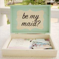 """""""Be My Bridesmaid"""" Box.such a cute idea via Wedding Chicks. Wedding Wishes, Wedding Bells, Diy Wedding, Dream Wedding, Wedding Day, Wedding Stuff, Wedding Picnic, Wedding Costs, Wedding Dreams"""