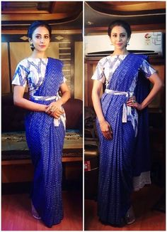 Have a look at the latest blouse designs trends for this year. Blouse Back Neck Designs, Fancy Blouse Designs, Saree Wearing Styles, Saree Styles, Blouse Styles, Saree With Belt, Saree Jacket Designs, Stylish Blouse Design, Saree Trends